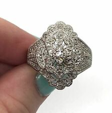 .64 Tcw Right Hand Ring-6.85g 14k White Gold Big Sparkly Diamond