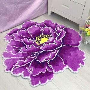 Flower  Round Rugs and Carpet Round Carpets Flocking Rose Mat Bedside Carpet