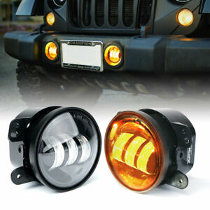 """Xprite 60W Amber 4"""" CREE LED Projector Fog Lights Driving for Jeep Wrangler JK"""