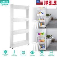 3/4Tier Slim Slide Out Kitchen Trolley Rack Holder Storage Shelf w/ Wheels