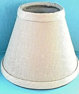 "New Lake Shore Beige Tweed Cloth w/White Interior Chandelier Shade 2.5"" X 5"" X 4"