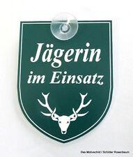 Jägerin,Einsatz,Jagd,Jagen,Schild,Mit Sauger,9 x 7 cm,Gravurschild,Forstbetrieb