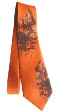 Drachen Seidenkrawatte silktie dragon orange rot schwarz hand bedruckt 5K21 dr