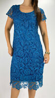 MISS ANNE Teal Lace Short Sleeve Bodycon Midi Dress Plus Size AU 16-18 Party