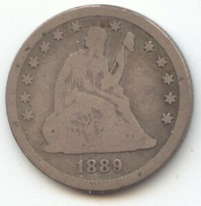 1889 Seated Liberty Quarter, Scarce Date, Perfect VG