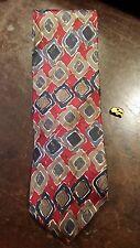 Red Gray Brown Diamond Abstract Silk Designer Mens Neck Tie