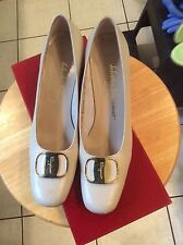 "Ferragamo BONE Leather Gold Buckle 2"" Heels Pumps Size 9 AAAA PRISTINE"