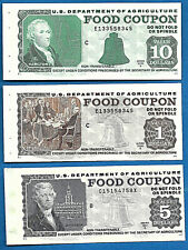 FOOD STAMP COUPON USDA Currency Paper Money Script Welfare 3 Piece Lot Of Old