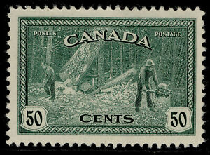 CANADA GVI SG405, 50c green, LH MINT. Cat £12.