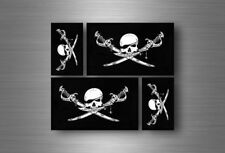 4x autocollant sticker voiture jolly roger drapeau pirate biker jack rackam r5