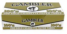 1x Box ( Gambler Gold Light 100s 100MM ) RYO - 200 Cigarette Tubes Box