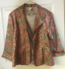 Dress Barn Size L Red-Orange, Black and Silver Jacket/Silver Blouse Included