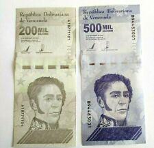 2020 Venezuela Bolivares Set $200,000 & $500,000 Unc