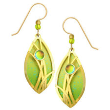 Adajio Leaf Shape Gold Plated Grasses Overlay Pierced Earrings Citrine & Lime