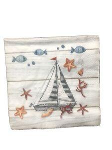 2 Nautical/ Sailing /Seaside Paper Napkins for Decoupage 33 cm