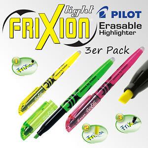 Pilot Frixion Light Highlighter 3er Pack Green Yellow Pink Marker Erasable Neon