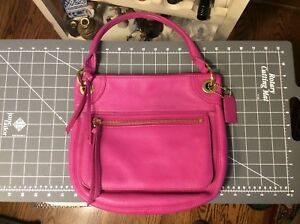 FOSSIL Pebble Leather Satchel Fuchsia Shoulder Bag - EUC