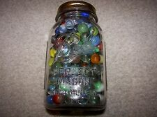 Mason Jar Full Of Vintage Marbles 225+ Bumblebees, Shooters Cats Eye Ban Ribbons