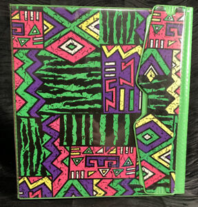 Vtg Rare 1990s 3 Ring Binder Trapper Keeper? Green Geometric Groovy Vaporwave