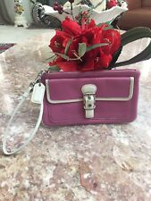 COACH Pink White Leather Metal Buckle Flap Wristlet Clutch Fits Cell Phones EUC