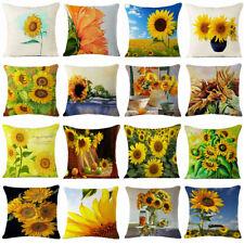 "18"" Fashion Sunflower Linen Cotton Throw Pillow Case Cushion Cover Home Decor"