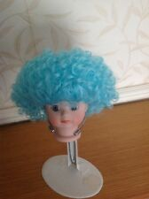 "BJD Dolls Short Curly Wig 7"" Head,Turquoise New No 1"