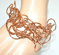 BRACCIALE oro rosa donna fili ondulati elegante bracelet armband bransoletka G10