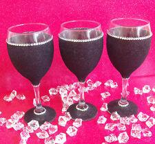 3 BLACK GEMMED RHINESTONE  GLITTER GLASSES WEDDING BIRTHDAY CHRISTMAS GIFT