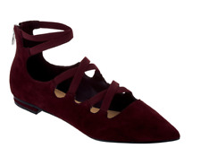 Marc Fisher Suede Cut-Out Flats - Annabeth Dark Red Burgundy Suede Women's 5 New