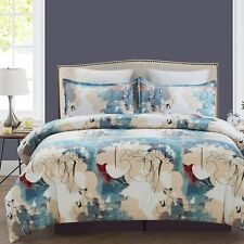 Soft Microfiber Duvet Cover Set, Watercolor Style Floral Prints, 3-Piece Set