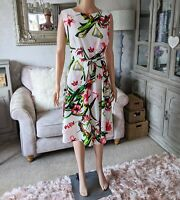Wallis Ladies 16 Dress Ivory Floral Belted Fit and Flare Summer NEW