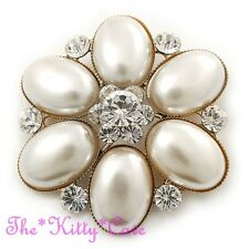 Vintage Deco Gold Tone Simulated Pearl Crystal Floral Brooch Pin, Wedding Bridal