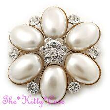 Deco Vintage Color Oro Perle Finte Cristallo Floreale Spilla, Sposa Matrimonio