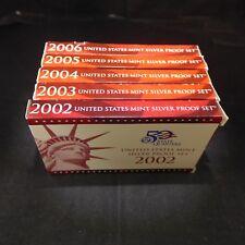 Lot of 5 US Mint Silver Proof Sets -  2002, 2003, 2004, 2005, & 2006 - COAs