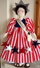 PRIMITIVE FOLK ART SEWING PATTERN 'LADY LIBERTY' PATRIOTIC RAG DOLL