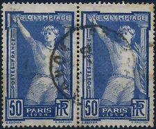 FRANCE JEUX OLYMPIQUES DE PARIS PAIRE N° 186 AVEC OBLITERATION