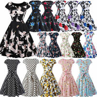 Vintage 50s 60s Women Pinup Swing Evening Party Housewife Rockabilly Retro Dress