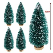 set of 4 mini snowy Christmas xmas trees ideal cake or table decorations 16cm 6""