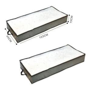 2Pcs/Set Underbed Storage Bag Organizer Large Capacity Storage Box with Handle