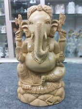"""8"""" Wooden GANESH Statue Hand Carved Hindu Elephant God India Brown Lord+SHIPPING"""