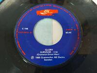 """Glory Feel The Fire - Survivor 1989 Spain Edition - Single vinyl 7 """" VG"""