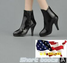 1/6 woman short leather Black boots for phicen hot toys verycool kumik body❶USA❶