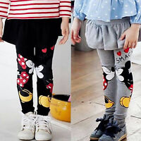 Kids Baby Girls Cartoon Mickey Minnie Mouse Sretch Leggings Pencil Pants Trouser