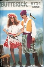 Butterick 6731 Mens Misses Pirate Swashbuckler Gypsy Skull Costume Pattern UNCUT