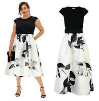 COAST CURVE Ivory & Black Floral Print Twill Skirt Midi Dress Plus Size 20 to 26