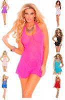 Plus Size Lace Chemise Lingerie Halter Dress O/S S - L Plus Size Queen 1X - 3X