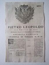 Grida Leopoldo Granducato Toscana 1775 Galeata Pianetto Montaguto Gonfaloni