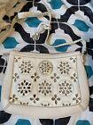BRIGHTON Ivory Leather Flowered Cut Out Shoulder Bag Purse Handbag with bag