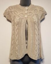 Size 8 Cardigan Natural Beige Short Sleeved Soft Knit Women's Great Condition