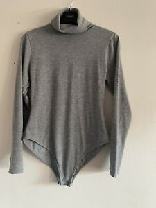 Pretty Little Thing Size 12 Grey Roll Neck Long Sleeve Button Up Bodysuit Vgc